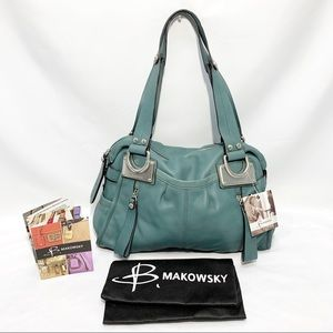 NWT B. Makowsky Montgomery East/West Leather Bag